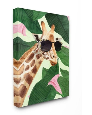 Fashion Giraffe Funny Flower Tropical Painting Super Oversized Stretched Canvas Wall Art by Ziwei Li 30 x 5 - stupell industries