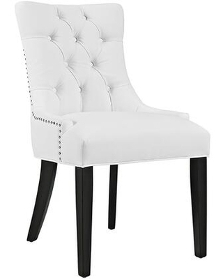 Regent Collection EEI 2222 WHI Dining Chair with Rubberwood Tapered Legs Nailhead Trim Non Marking Foot Caps Solid Wood Frame and Vinyl - modway