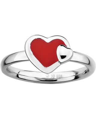 Sterling Polished Enameled Heart Ring - jewelrypot