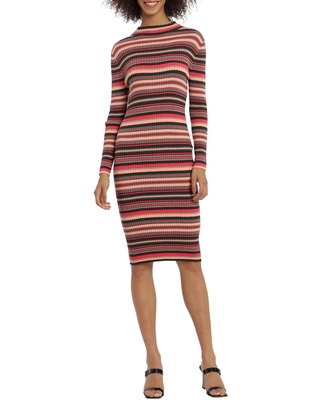 Striped Long Sleeve Midi Sweater Dress at Nordstrom Rack - maggy london