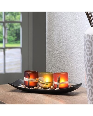 Wooden Tray With 3 Glass Tealight Candle Holders - millwood pines