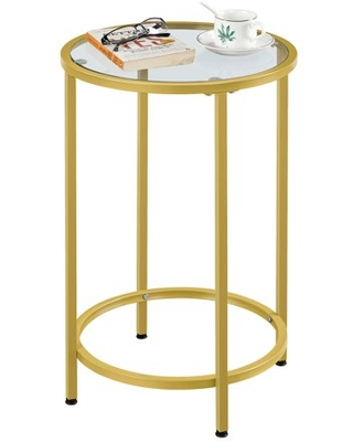 Round Metal End Table with Glass Top - alden design