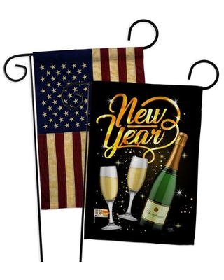 Cheers To Happy New Year Garden Flags Pack Winter Yard Banner 13 X 5 Inches Double Sided Decorative Home Decor - breeze decor