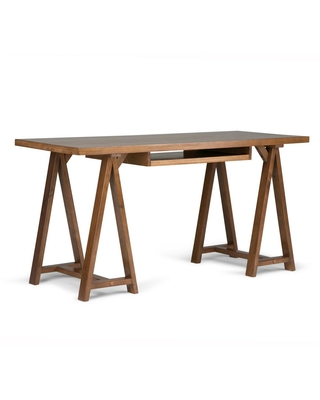 60 in Rectangular Medium Saddle Writing Desk with Solid Wood Material - brooklyn + max