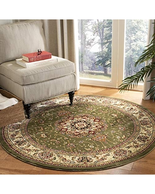 SAFAVIEH Lyndhurst Collection LNH329B Traditional Oriental Non-Shedding Dining Room Entryway Foyer Living Room Bedroom Area Rug, 8' x 8' Round, Sage / Ivory