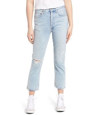 Riley Ripped High Waist Crop Straight Leg Jeans at Nordstrom - agolde