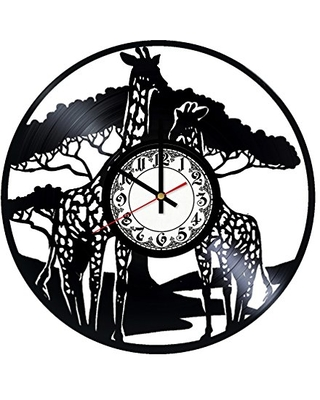 African Giraffes Handmade Vinyl Record Wall Clock Get unique room wall decor Gift ideas for his and her - Modern Unique Home Art Design - girls art boutique