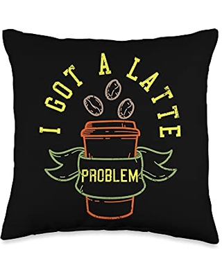 Lover Caffeine Beans Espresso Coffee Throw Pillow 16x16 - coffee gifts & accessories