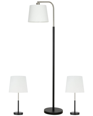 3pc Table Floor Lamp Sets Includes LED Light Bulb - cresswell lighting