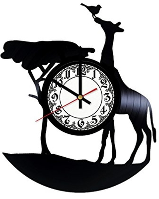 Giraffe Handmade Vinyl Record Wall Clock Get unique room wall decor Gift ideas for his and her - Modern Unique Home Art Design - girls art boutique