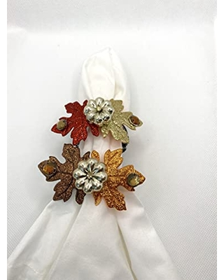 Fall Napkin Rings with Metallic Pumpkin with Felt Glitter Leaves and Beads - the gift basketry baby
