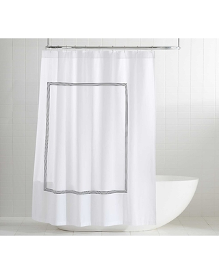 Midnight Grand Embroidered Organic Shower Curtain - undefined
