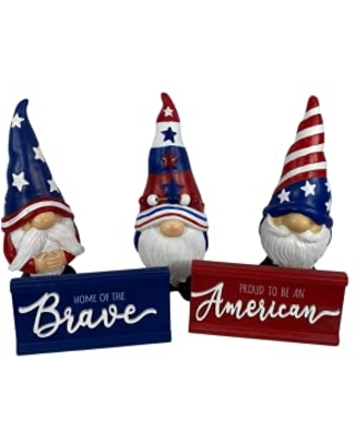 AGD Patriotic Decor July 4th Resin Gnomes Tiered Tray Figurines - agape gifts designs