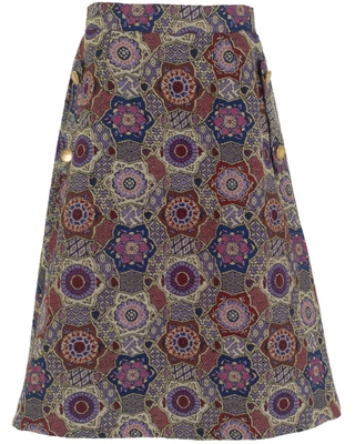 Women's Artisanal Cotton Multicolor Midi Skirt With Pockets Large - relax baby be cool