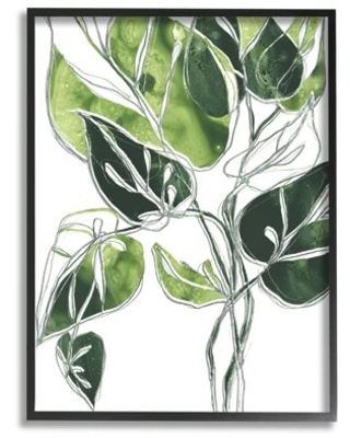 Stupell Industries Intricate Palm Vines Unique Leaves Framed Wall Art Design by June Erica Vess - stupell home d cor