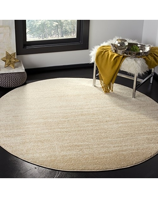 SAFAVIEH Adirondack Collection ADR113W Modern Ombre Non-Shedding Dining Room Entryway Foyer Living Room Bedroom Area Rug, 7' x 7' Round, Champagne / Cream