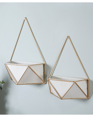 Outdoor Planters & Goldtone Geometric Metal Wall Planter Two - winsome house