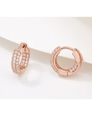 Pave Inside Outside Click In Hoops Sterling - diamonique