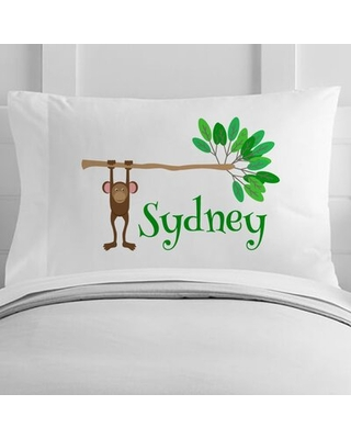 Personalized Monkey Toddler Pillow Case - 4 wooden shoes