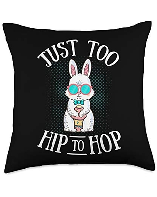 Bunny Just Too Hip to Hop Easter Egg Hunt Lovers Throw Pillow 18x18 - easter bunny merch co