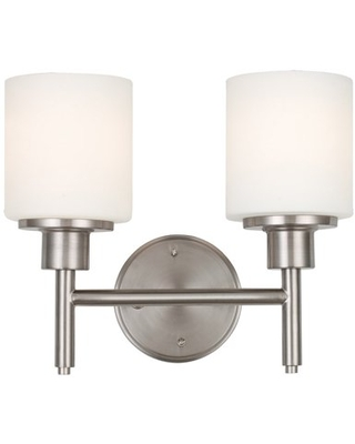 Aubrey 2 Light Satin Nickel Indoor Wall Mount Sconce with Frosted Glass Shades - design house