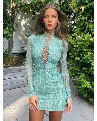 Bodycon Dress Jewel Neck Long Sleeves Polyester Lace Up Stretch Summer Short Dress - milanoo