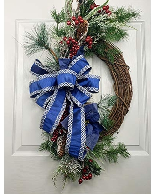 Christmas Wreath for Front Door Elegant Floral Holiday Wreath - tctcrafts