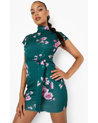 Womens Floral Funnel Neck Belted Mini Dress - boohoo