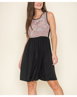 Women's Casual Dresses & Taupe Floral Contrast Sleeveless A Line Dress Women & Plus - egs by eloges