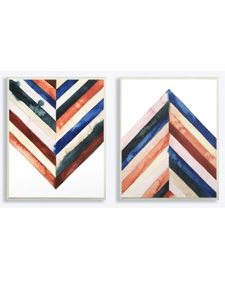 Stupell Industries Watercolor Layered Shapes 2pc Wall Plaque Art Set - stupell home d cor