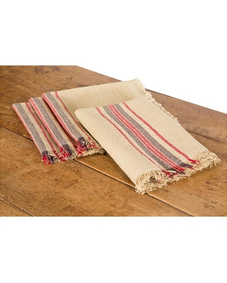 Linen Stripe 20 in x 20 in Natural Napkins - xia home fashions
