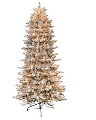 5 ft Pre Lit Flocked Slim Fraser Fir Artificial Christmas Tree with 350 UL Listed Clear Lights - puleo international