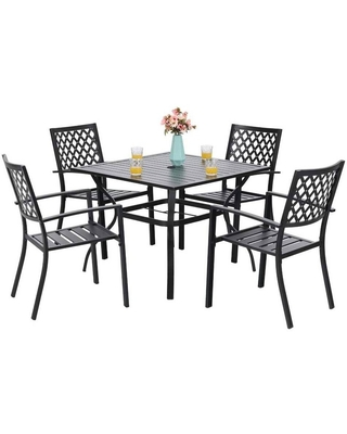 5pc Patio Set with Square Metal Table with Umbrella Hole & Arm Chairs - captiva designs