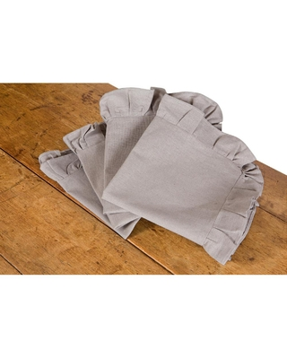 Ruffle Trim 20 in x 20 in Solid Taupe Napkins - xia home fashions