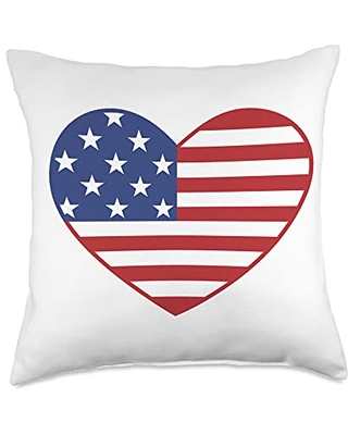American Flag Heart 4th of July USA Patriotic Pride Throw Pillow 18x18 - america 4th of july flag