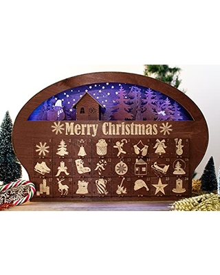 Advent Calendar Christmas Wooden Personalized Christmas Calendar Ellipse Shape 24 Engraved Drawers Countdown 2021 LED Light - favncrafts