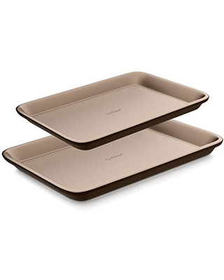 Nonstick Cookie Sheet Baking Pan 2pc Large and Medium Metal Oven Baking Tray Professional Quality Kitchen Cooking Non Stick Bake Trays w Rimmed Borders Guaranteed NOT to Wrap - nutrichef