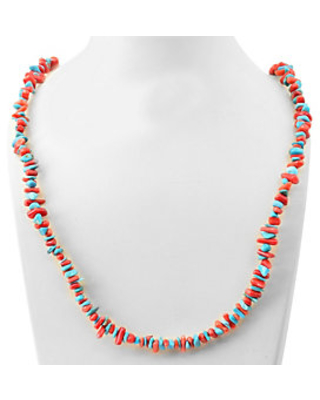 Sterling Bamboo Coral & Turquoise Necklace - qvc