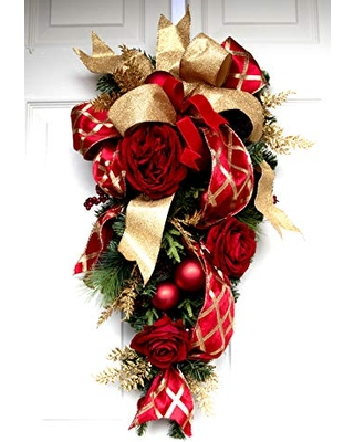 Christmas and Rose Teardrop Swag for Front door Elegant Wreath 26 inch - leoparddesigns