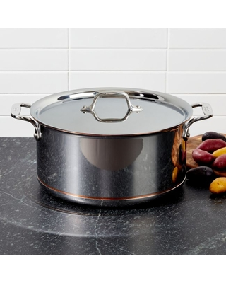 All Clad Copper Core Stockpot with Lid - crate&barrel