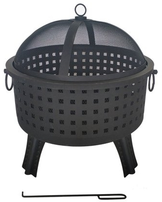 FP10 Laser Cut Square Steel Fire Pit with Log Grate and Poker 22 inches - aleko