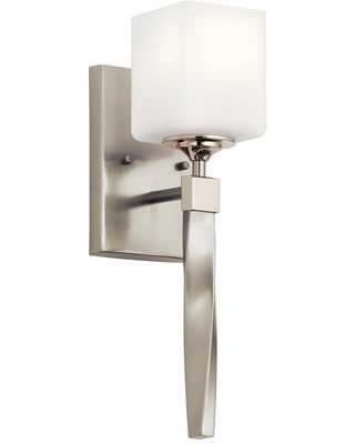 Marette 1 Light Brushed Nickel Wall Sconce with Satin Etched Cased Opal Glass Shade - kichler