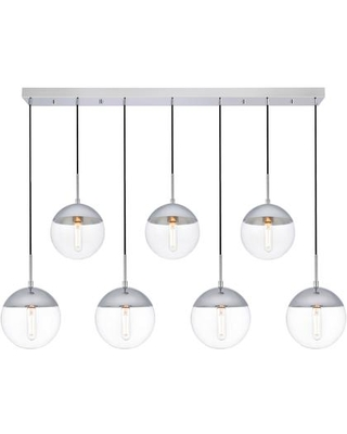LD6089C Eclipse 7 Light 8 inch Chrome Pendant Ceiling Light With Clear - living district