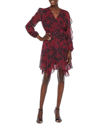 Long Sleeve Floral High Low Fit & Flare Dress - danny & nicole