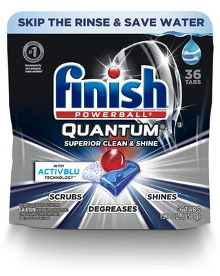 Quantum 36ct Dishwasher Detergent Tabs Ultimate Clean and Shine - finish