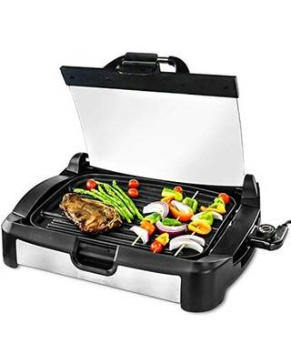 2 in 1 Electric Countertop Powerful Contact Grill with Glass Lid & Nonstick Ceramic Grill & Griddle Plate Portable Stainless Steel BBQ Grill with Removable Drip Tray Easy Clean GR2001B - ovente