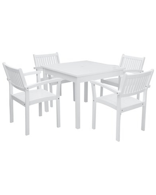 Vifah Bradley Outdoor Patio Dining Set 4 seater Acacia Wood with Square Table and 4 Stacking Chairs - undefined