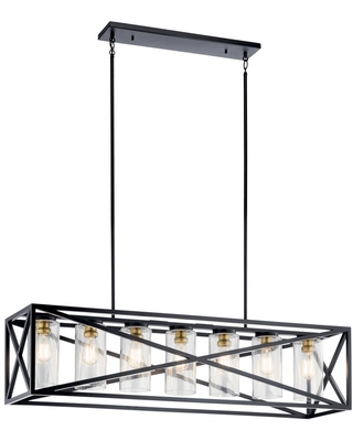 Moorgate 7 Light Linear Chandelier with Clear Glass Shade - kichler