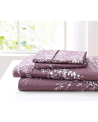 SL Spirit Linen Home EST. 1988 Foliage Collection Bed Sheet Set- Ultra Soft, Lightweight & Breathable Fabrics, Double Brushed Microfiber for Added Softness, Full, Lilac White