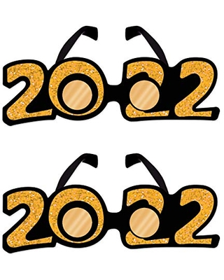 Beistle 2 Piece Plastic Glasses Glittered Graduation Happy New Year Party Favors Supplies NYE Decorative Eyeglasses Eyewear Photo Booth Props for 2022, One Size, Gold/Black